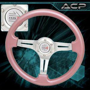 350mm 6 Bolts Pink Steering Wheel Silver Center W Jdm Type R Horn Button