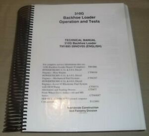 John Deere 310g Backhoe Loader Technical Service Repair Manual Book Tm1885