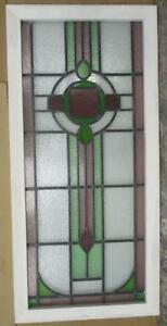 Large Old English Leaded Stained Glass Window Circle Geometric Abs 20 X 42 25