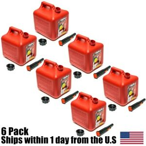 6pk 2 Gallon Red Gas Can Container Midwest Gas Company 2 Gal 2300