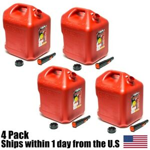 4pk 5 Gallon Red Gas Can Container Midwest Gas Company 5 Gal 5600