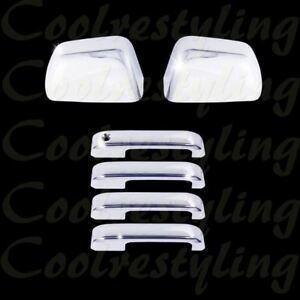 For 2017 2018 2019 Ford F250 F350 Mirror 4 Handle W o Smart Key Chrome Cover