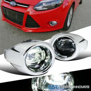 For 12 14 Ford Focus Clear Smd Led Projector Fog Driving Bumper Lights switch