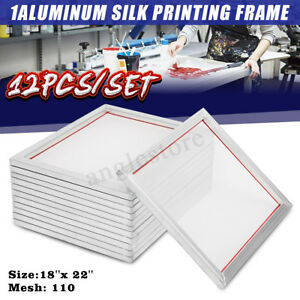 12 Pack 18 X 22 Aluminum Frame With 110 Mesh Silk Screen Printing Screens Us