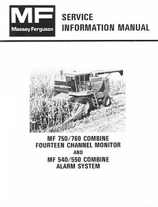 Massey Ferguson Mf 750 760 Combine 14 Channel Monitor 540 550 Service Manual