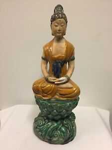 Antique Chinese Pottery Seated Kuan Yin On Pedestal 20th Century