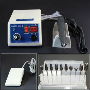 Dental Lab Marathon Handpiece 35k Rpm Micromotor Polishing 10 Tungsten Steel Bur