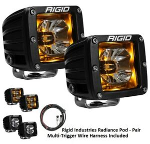 Rigid Industries Radiance Pods With Amber Back Light And Wiring Harness Pair
