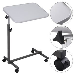 Adjustable Over Bed Hospital Food Tray Small Top Rolling Computer Table Desk