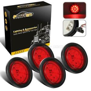 4pc 4 Round Red Led Tail Turn Stop Brake Rv Truck Trailer Lights W Grommet