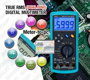Trms Dual Fuse Digital Multimeter Lcd Auto Ac Dc Volt Meter Ohm Amp Temp Tester
