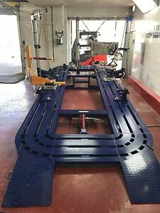 22 Feet Long Auto Body Frame Machine 30 Ton 3 Towers Clamps Tools Cart Bench