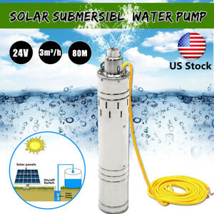 Us Dc 24v 684w 80m 3m h Brushless Steel Deep Well Solar Submersible Water Pump
