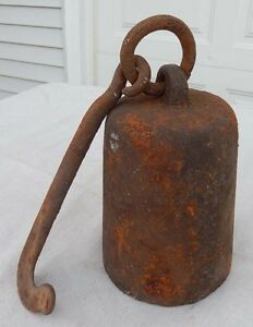 Antique 19th Century Cast Iron 32 Lb Weight Hanging Steelyard Scale Horse Tether