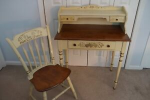 Antique Ethan Allen Hitchcock Stenciled 32 Maple Writing Desk Windsor Chair