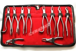 10 German Stainless Oral Dental Extraction Surgery Extracting Forceps Instrument