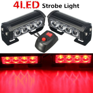 2x Led Red Car Auto Van Strobe Flash Grille Light Warning Hazard Emergency Lamp