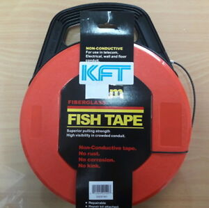 O310fah Fiber Glass Fish Tape Reel Puller 30m 100ft Electrical Cable Free Ship