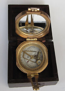 Solid Brass Pocket Transit Compass Working Reproduction