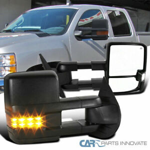 07 13 Silverado Sierra Facelift Power Heated Towing Mirrors amber Led Signal