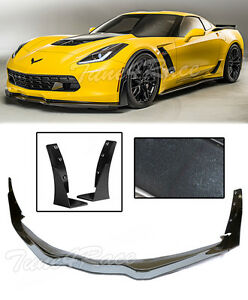 For 14 up Corvette C7 Z06 Stage 3 Abs Carbon Flash Painted Front Lip Winglets