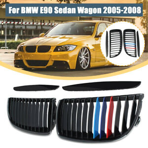Gloss Black Front M color Hood Kidney Grille Grill For Bmw E90 3series 2005 2008