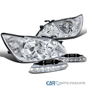 Fit 01 05 Lexus Is300 Clear Headlights Driving Lamps 6 Led Fog Bumper Lights