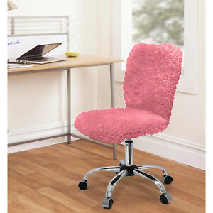 Faux Fur Task Chair Pink Stripe Office Desk Computer Back New