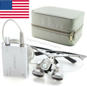 Dental Surgical Binocular Loupes 2 5x 420 Led Head Light Lamp Carry Case Box Bag