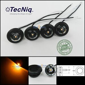 4 Tecniq Clear Amber 3 4 Led Bullet Lights Clearance Marker Trailer Truck Usa