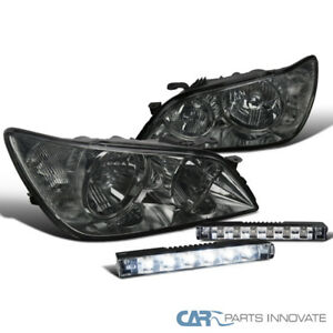 Fit 01 05 Lexus Is300 Smoke Lens Tinted Headlights Slim 6 Led Fog Lights