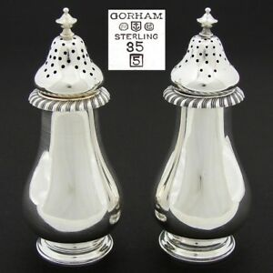 Vintage 1945 Hallmarked Gorham Sterling Silver Salt Pepper Shaker Pair