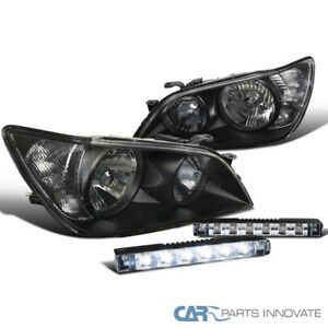 For 01 05 Lexus Is300 Black Headlights Headlamps Slim 6 Led Fog Lights Lamps