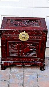Early 20c Chinese Camphor Wood Carved Lacquered Chest Trunk W Brass Decoration