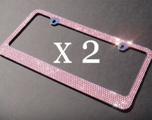 2 Pcs Bling 7 Rows Pink Crystal Diamond Metal License Plate Frame Free Caps