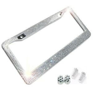 Metal License Plate Frame Bling Rhine Stones Chrome Crystal Diamond