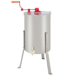 Stainless Steel Large 2 Frame Honey Extractor Beekeeping Equipment Silver