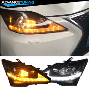 Fits 06 14 Lexus Is250 Is350 Isf Facelift Style Headlights Black Housing