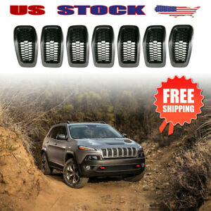 Fit For Jeep Cherokee Gray black Front Grille Honeycomb Inserts Mesh Accessories