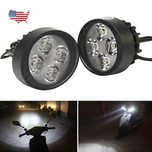 Motorcycle Front Headlight Spot Fog Lights Head Lamp 4 Led 12v 2x Offroad Us
