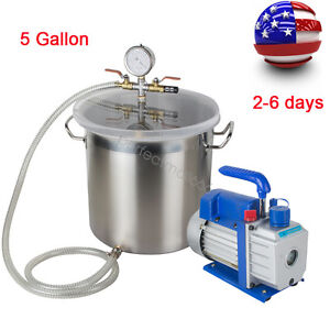 Us Ship 5 Gallon Vacuum Chamber And 1 3hp 3cfm Single Stage Vacuum Silicone Kit
