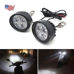 Motorcycle Headlight Spot Fog Lights 2x Front Head Lamp 4 Led 12v Bar End Us