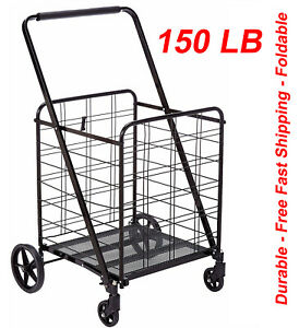 Heavy Duty 360 Degree Wheel Folding Super Jumbo Shopping Cart max 150 Lb black