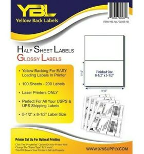 Ybl 1000 Half Sheet Self Adhesive Shipping Labels 8 5 X 5 5 Yellow Backing
