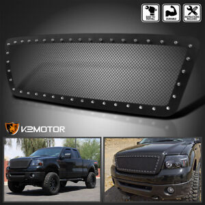 2004 2008 Ford F150 Black Textured Rivet Style Upper Front Hood Grille Insert