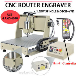 Usb 4 Axis 6040 Cnc Router Engraver 1500w Vfd Engraving Milling mach3 Controller