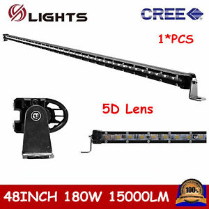 48inch 180w Cree Led Light Bar Slim Single Row Offroad Truck Atv Suv 4wd 5d Lens