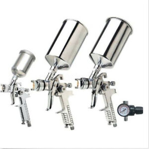3pcs Hvlp Gravity Feed Air Spray Gun Set Basecoat Car Primer Auto Painting Kit