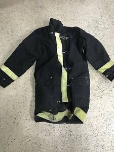 Firefighter Dept Jamesville Turnout Gear Bunker Coat black Circa 1980 1990 s