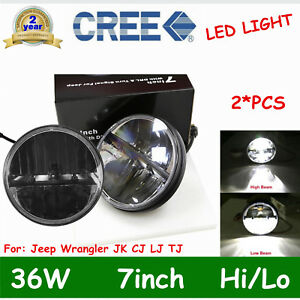 Pair 7 Inch 36w Led Jeep Headlight High Low Beam Jeep Wrangler Jk Cj Lj Tj Drl